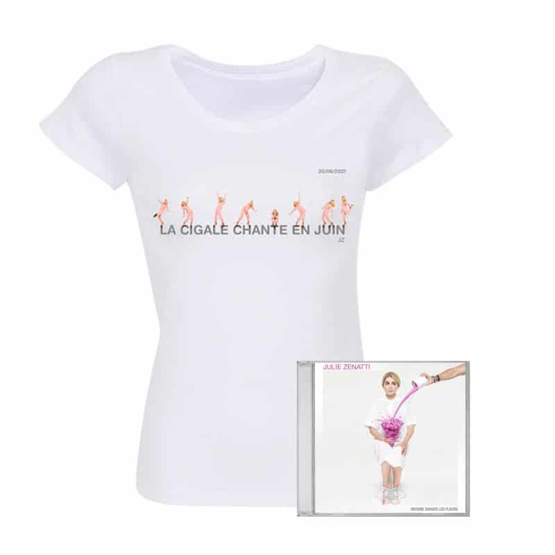 Pack T-shirt Femme BLANC PARIS Refait Danser les Fleurs + CD / Taille XXL