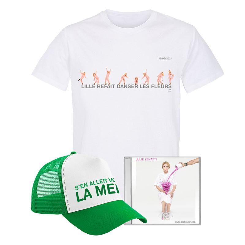 Pack T-shirt Homme BLANC LILLE Refait Danser les Fleurs Casquette S'en aller v