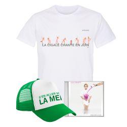 Pack T-shirt Homme BLANC PARIS La Cigale Chante en Juin Casquette S'en aller v