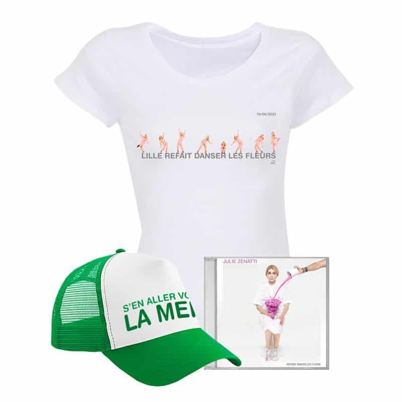 Pack T-shirt Femme BLANC LILLE + Casquette + CD / Taille L